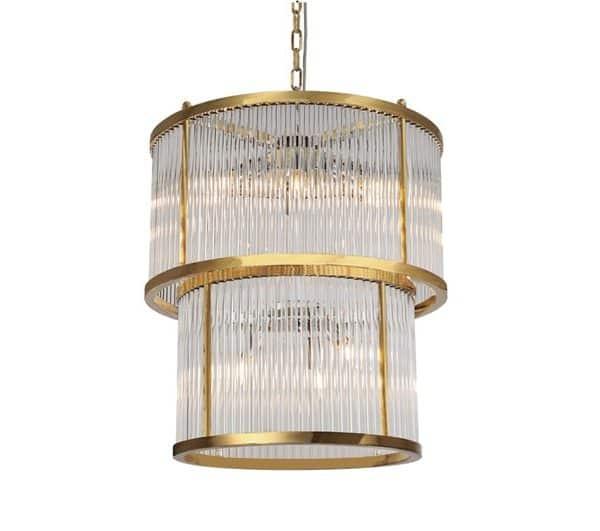 Taklampe Corona Gull Metall Og Klart Glass