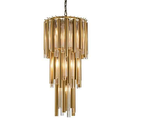 Taklampe Macon I Gull Metall Og Klart Glass