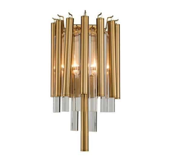 Vegg Lampe Macon I Gull Metall Og Klart Glass