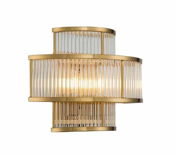 Vegg Lampe Corona I Gull Metall Og Klart Glass