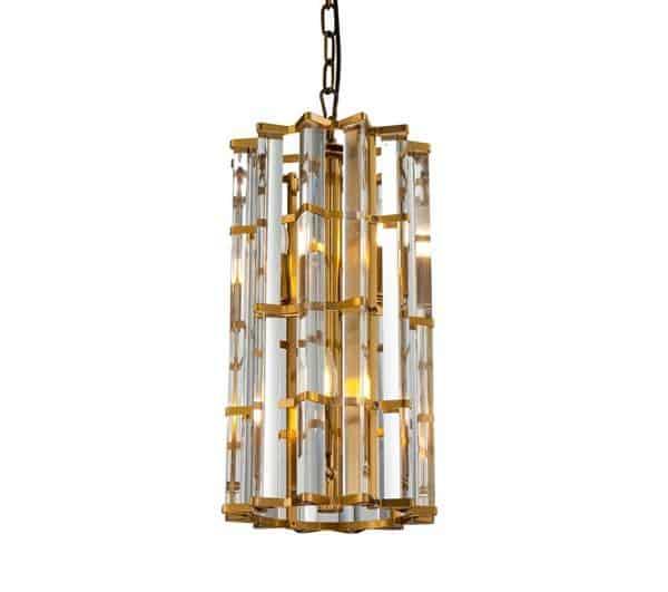 Taklampe Amarillo I Gull Metall Og Klart Glass