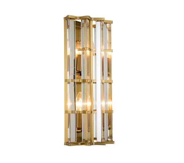 Vegglampe Amarillo I Gull Metall Og Klart Glass